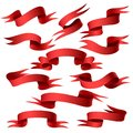 Red ribbon banner set Royalty Free Stock Photo