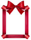 Red Ribbon And Bow Frame Royalty Free Stock Photo