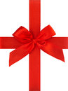 Red ribbon bow isolated on white background. Gift card concept Royalty Free Stock Photo