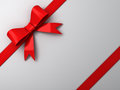 Red ribbon bow on white background Royalty Free Stock Photos