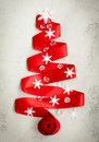 Red Ribbon Christmas Tree Royalty Free Stock Photo