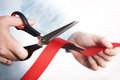Red ribbon cutting for open new project Royalty Free Stock Photo