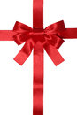 Red ribbon gift with bow for gifts Royalty Free Stock Photo