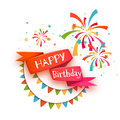 Red ribbon with Happy birthday title. Vector