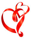 Red ribbon hearts Royalty Free Stock Photos