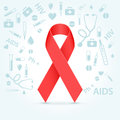 Red ribbon hiv awareness illustration concept over light background Stock Images