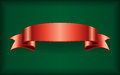 Red ribbon satin bow banner green Royalty Free Stock Photo