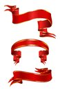 Red ribbon set of festive ribbons Stock Photography