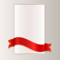 Red ribbon template bending around blank paper card Stock Photos