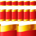 Red ribbons with gold edging golden fabric highly detailed texture Stock Photos