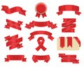 Red ribbons set, isolated on white background. Decorative ribbon banner collection. Royalty Free Stock Photo