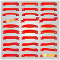 Red ribbons set vector Royalty Free Stock Photo