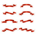 Red ribbons vector collection of different on white background Stock Photography