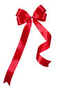 Red ribbons white isolated background of bow Stock Image