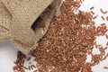 Red rice in burlap sack for food concept Stock Images