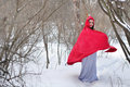 Red riding hood on a footpath little in the winter woods Royalty Free Stock Images