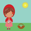 Red riding hood illustration of a with some flowers Royalty Free Stock Photo