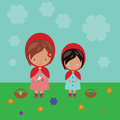 Red riding hood sisters illustration of with flowers Stock Photos
