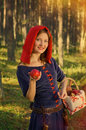 Red riding hood standing in a wood beautiful girl in medieval dress Royalty Free Stock Photography