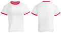 Red ringer t shirt vector illustration of blank men template white with collar and sleeve bands front and back design Stock Photo