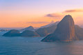 Red rio de janeiro sugarloaf mountain from behind Stock Image