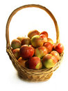 Red ripe apples in a basket Stock Photos