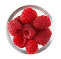 Red ripe raspberry fruit in transparent glass Stock Photography