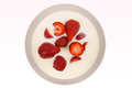 Red ripe strawberries in a bowl Royalty Free Stock Image