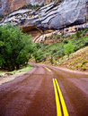 Red Road after the rain in Zion Royalty Free Stock Photo