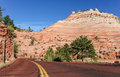Red road through Zion National Park Royalty Free Stock Photo