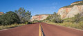 Red road through Zion National Park in Utah Royalty Free Stock Photo