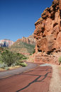 Red Road in Zion National Park, Utah, USA, Royalty Free Stock Photo