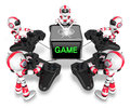 Red robots playing games create d humanoid robot series Stock Photos