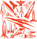 Red rocket collection clip art of various types of Royalty Free Stock Images