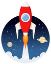 Red Rocket Flying in the Space with Stars Royalty Free Stock Photo