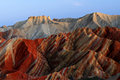 Red rocks weathered stones colour mountain danxia landform of zhangye gansu china Royalty Free Stock Photo