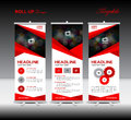 Red Roll Up Banner template and info graphics, stand design,bann
