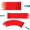 Red Roller Brush Painting Strokes on Wall. Vector Royalty Free Stock Images