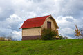 Red roof barn on the farm in michigan Royalty Free Stock Image