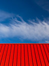 Red Roof Blue Sky White Clouds Abstract Royalty Free Stock Photo