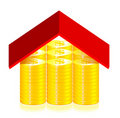 Red roof on the dollar coins Stock Photography