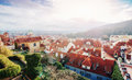 The red roof in Prague. Panoramic view of  from  Cas Royalty Free Stock Photo