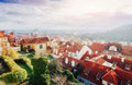 The red roof in Prague. Panoramic view Royalty Free Stock Photo