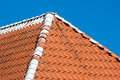 Red roof tiles with sky background details Stock Photography