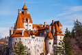 Red roofs of bran castle dracula castle in transylvania and wallachia romania Stock Photos