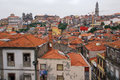 Red roofs of old buildings in ribeira the old town of porto portugal Royalty Free Stock Photography