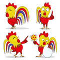 Red rooster set. Royalty Free Stock Photo