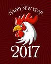 Red Rooster symbol of new year 2017 on the Chinese calendar.Vector illustration.