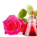 Red rose and a bottle of perfume isolated on a white background Stock Photo