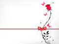 Red rose with a bow Stock Photo